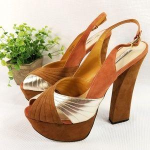 H by Halston Size 10 Peep Toe Block Heels 3065